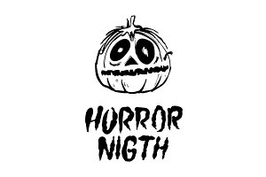 horror night pumpkin vector