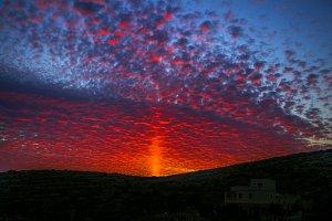 Beautiful dark red sunset