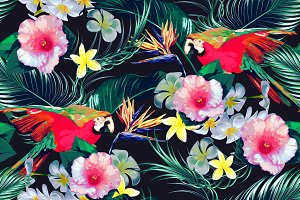 Parrots,tropical flowers pattern