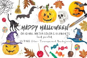 Halloween ClipArt Watercolor Pack