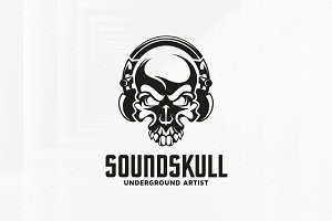 Sound Skull Logo Template
