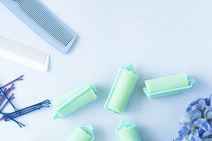 Blue pastel beauty products