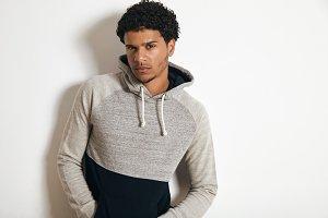 Man in blank heather gray clotching mockup set