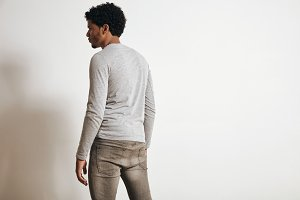 Man in blank heather gray clotching mockup set