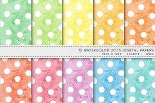 Watercolor Dots Spots Digital Paper