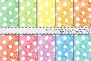 Watercolor Dots Spots Digital Paper