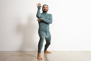 Man in thermal baselayer wear ninja suit set