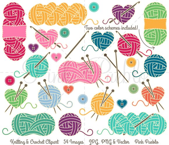Knitting Crocheting Clipart : Knitting crochet clipart vectors illustrations on