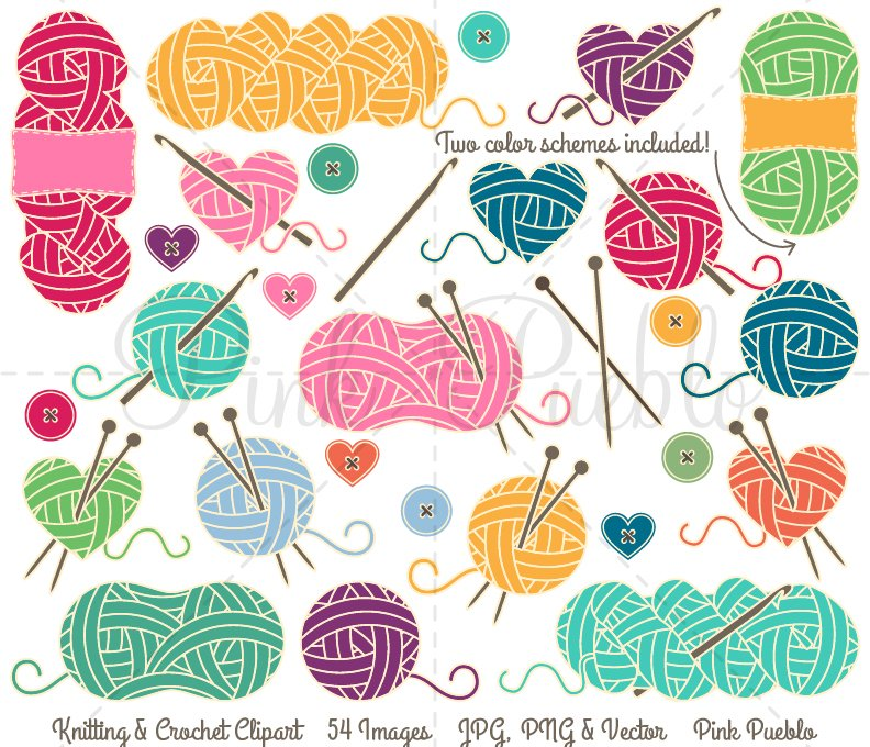 Knitting And Crocheting Clipart : Knitting crochet clipart vectors illustrations
