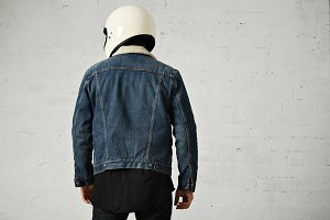 Attractive motor biker in blank jacket mockup set