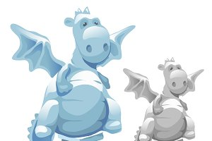 Ice statue of cute fat dragon