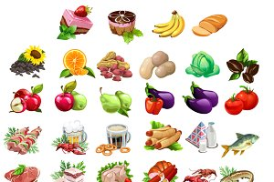 Fruits, vegetables, meat, fish