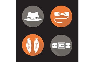 Men's accessories. 4 icons. Vector