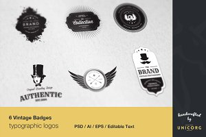 6 Vintage Typographic Logo Badges