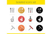 Kitchen items. 12 icons. Vector