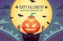 Cartoon Halloween Characters Set