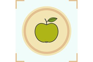 Green apple color icon. Vector