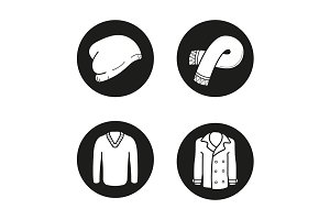Autumn clothes. 4 icons. Vector
