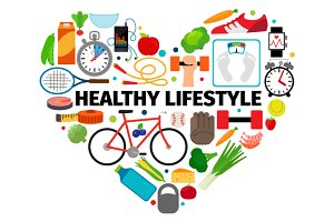 Healthy lifestyle heart emblem