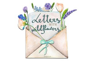 Letters with wildflowers
