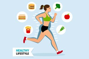 Healthy lifestyle running woman
