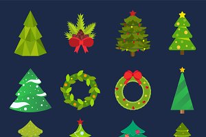 Christmas tree icons vector set