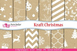 Kraft Christmas Digital Paper
