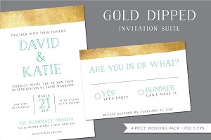Gold Dipped Wedding Invitation Suite
