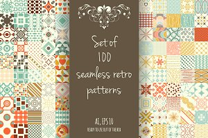 Set of 100 retro seamless patterns