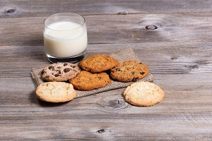 Mixed cookie types and milk