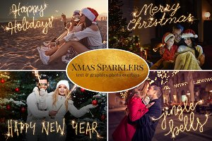 """Christmas Sparklers"" photo overlyas"