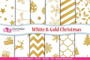 White and Gold Christmas Paper
