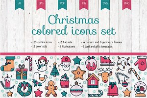 Christmas colored icon set