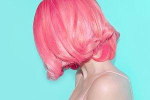 pink hair color. Sensual Lady