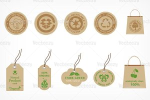 Recycle & Organic Vector Badges