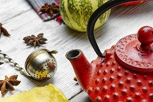 Still life with autumn tea