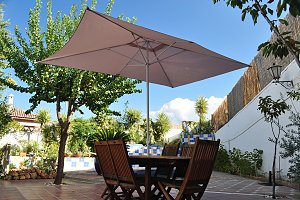 yard, table and umbrella