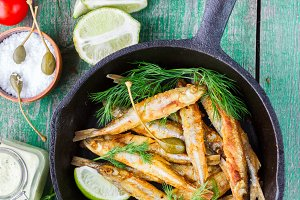 Fried small fish. Smelt