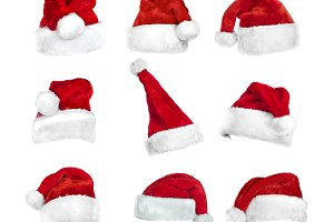 Set of isolated Santa's hats. PNG