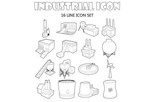 Industry icons set , outline style