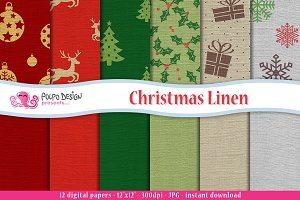 Christmas Linen digital paper