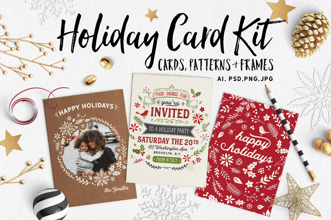 retro holiday card kit with bonuses templates creative market