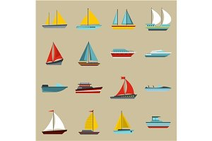 Boat and ship icons set, flat style