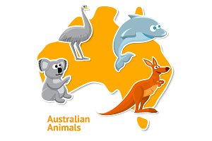 Set of Australian animals stickers