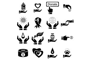 Charity icons set, simple style
