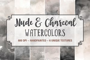 Nude & Charcoal Watercolors