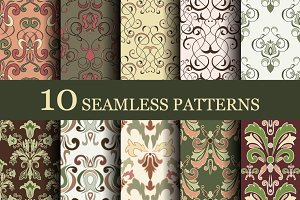 Set of 10 seamless retro patterns