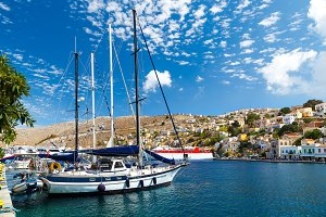 Boats in the harbor of Symi Island. Greece, Europe