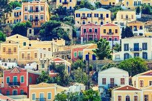 Beautiful city of Symi in the archipelago Greek islands.