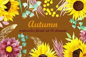watercolor autumn set 26 elements